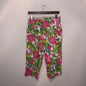 Cappagallo Pink & Green floral pants size 6